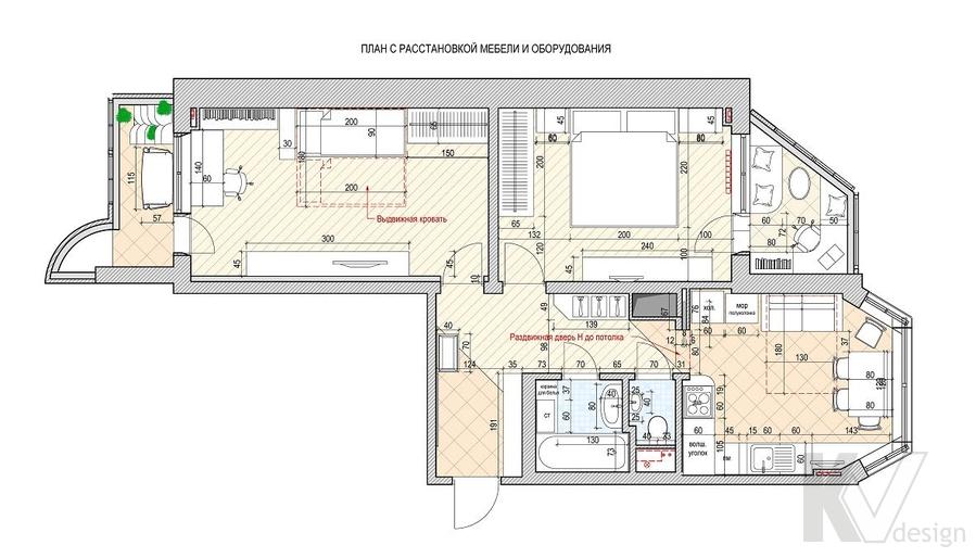Перепланировка квартиры П-44Т, Свиблово