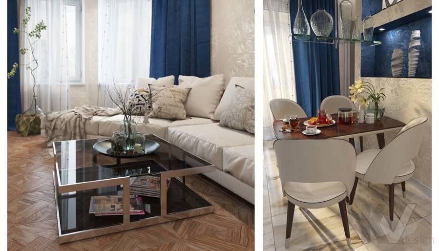 дизайн гостиной-кухни в 3-комнатной квартире 100 кв.м., Реутов