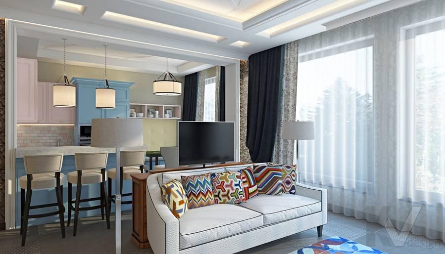 Дизайн гостиной-кухни в трехэтажном доме - 6