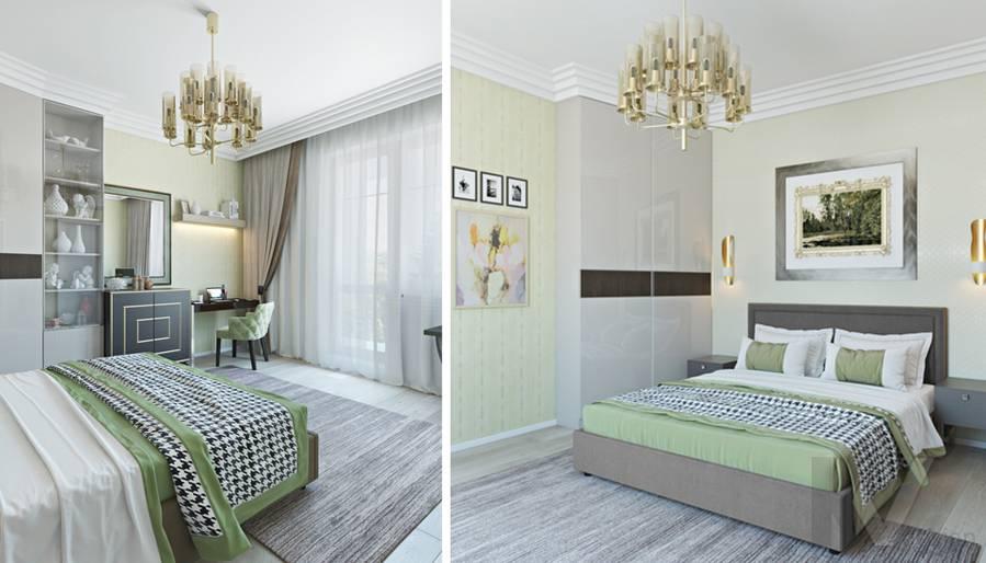 Спальня в двухкомнатной квартире, ЖК Виноградный - 5