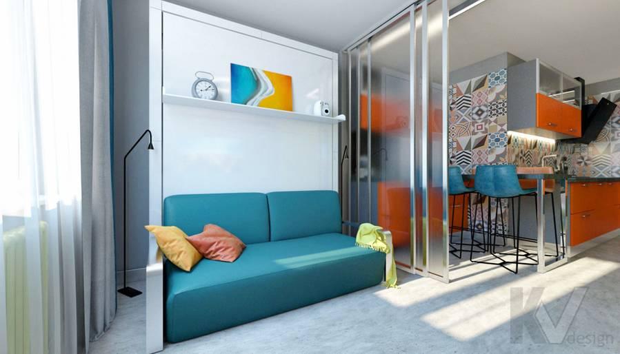 Гостиная-спальня в 2-комнатной квартире П-111М, Тропарево - 1