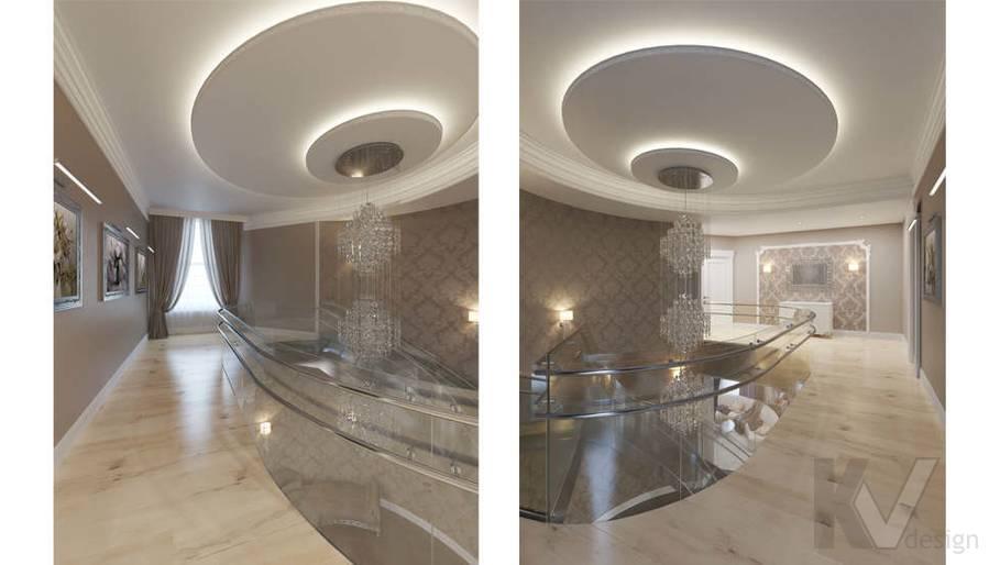 Дизайн холла на 2-ом этаже в коттедже, КП Эдельвейс - 2