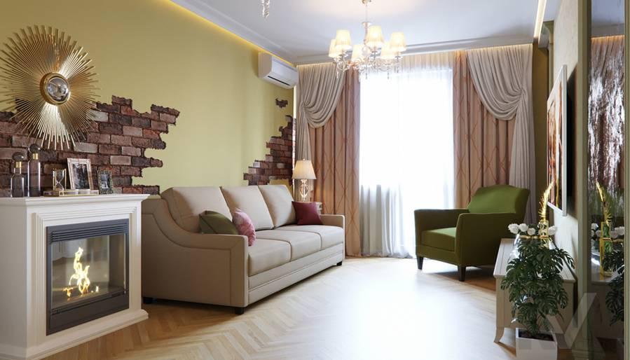 Дизайн гостиной в квартире серии П-3, Ясенево - 1