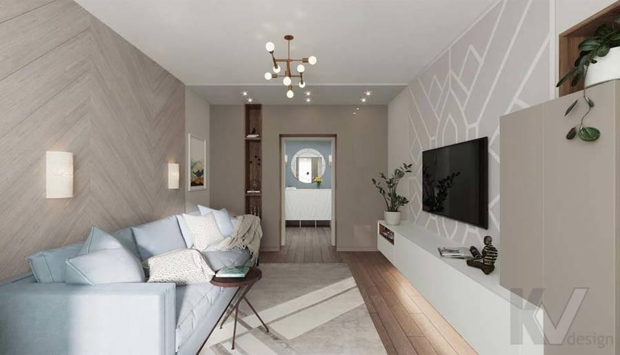 Дизайн гостиной в квартире серии П-3М, Южное Бутово - 3