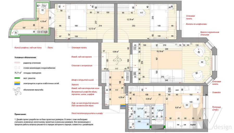 Перепланировка квартиры серии П-3М, Южное Бутово