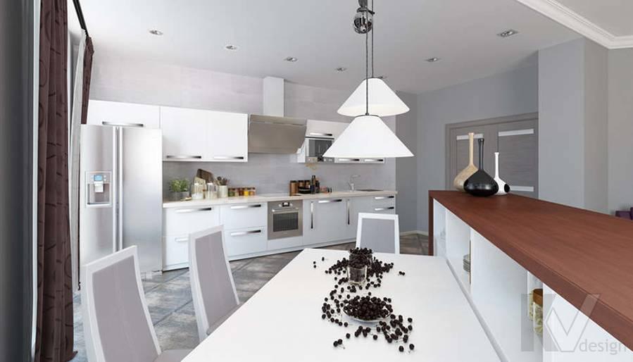 дизайн гостиной-кухни в 3-комнатной квартире, Троицк - 5
