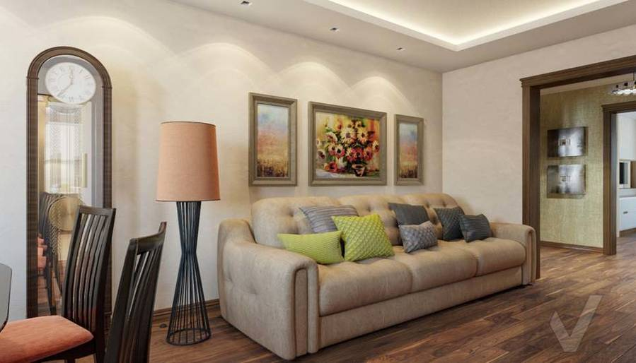 дизайн гостиной в четырехкомнатной квартире П-3М - 3