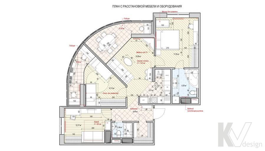 перепланировка 3-комнатной квартиры, Митино