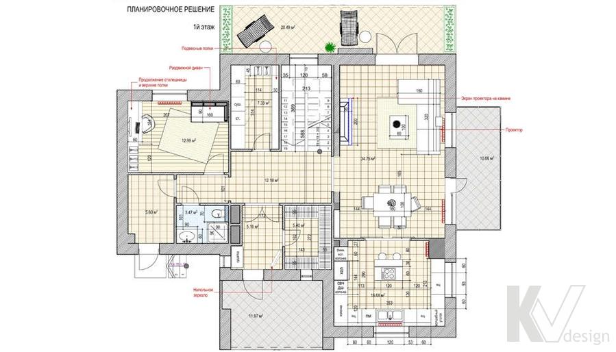 Перепланировка 1-го этажа в доме, КП Пестово