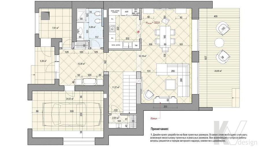 Перепланировка 1-го этажа дома, КП «Парк Авеню»
