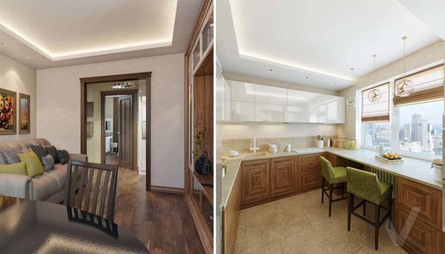 дизайн гостиной-кухни в четырехкомнатной квартире П-3М