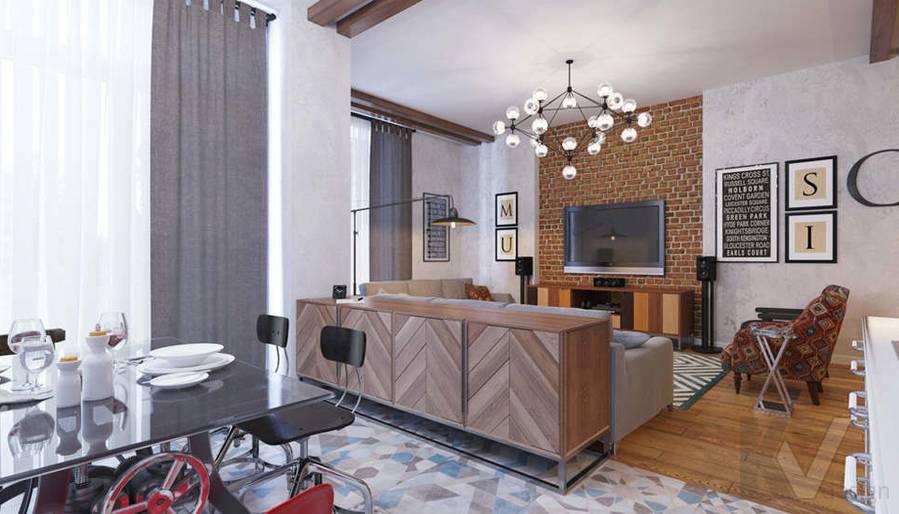 Дизайн гостиной в доме, КП Монтевиль - 2
