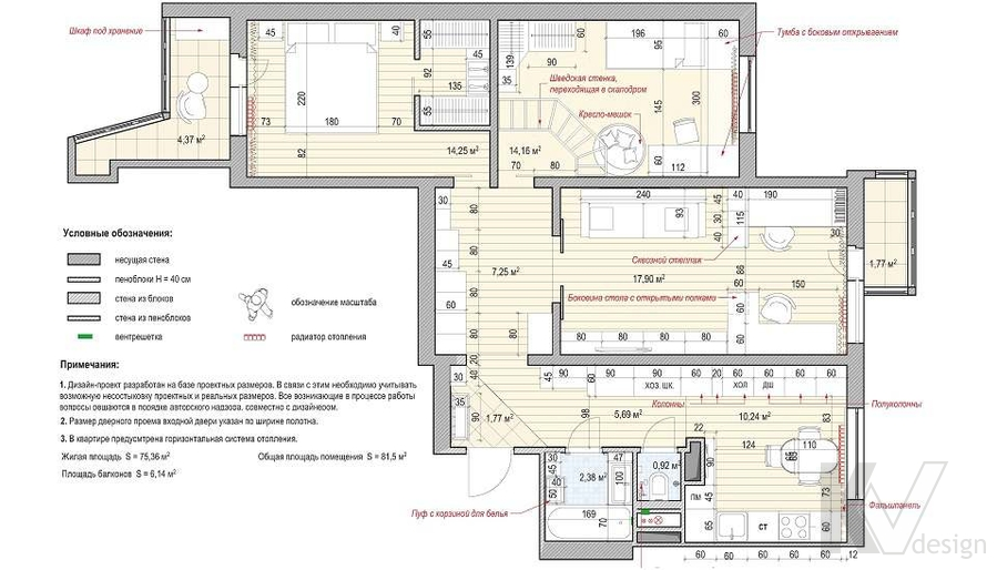 Перепланировка 3-комнатной квартиры П-3М, Новое Ясенево