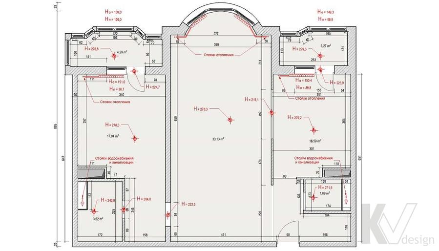 Дизайн квартиры в Митино, обмерный план