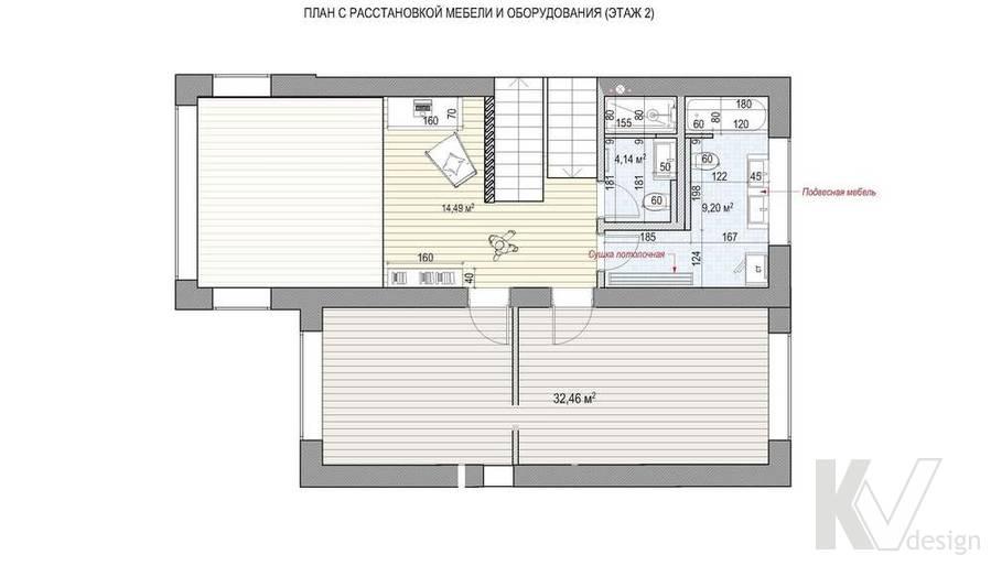 Перепланировка 2-го этажа в коттедже, КП «Vita Verde»
