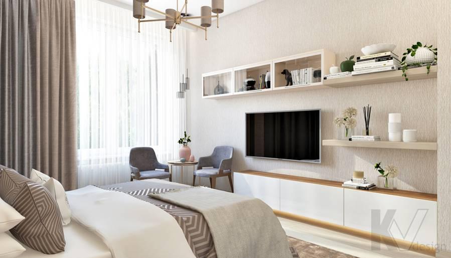 Дизайн спальни в квартире, ЖК Авеню-77 - 2