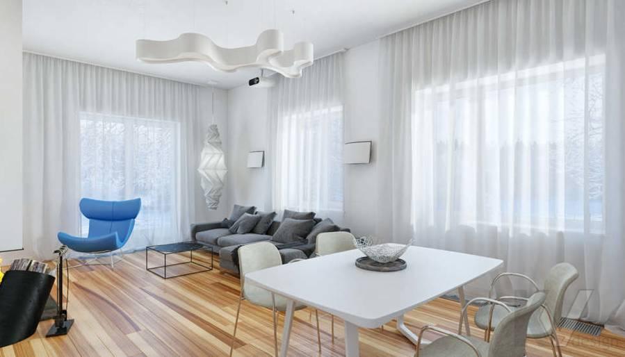 Дизайн гостиной в доме, КП Пестово - 1