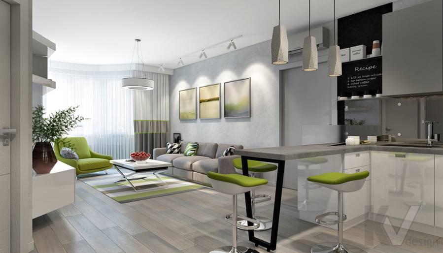 Гостиная-кухня в 3-комнатной квартире И-155, Красногорск - 2