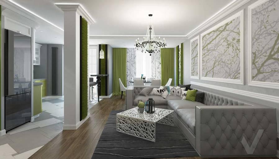 Дизайн гостиной в 5-комнатной квартире, Климовск - 1