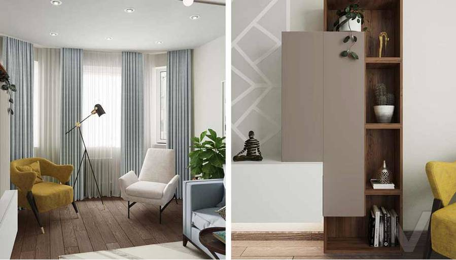 Дизайн гостиной в квартире серии П-3М, Южное Бутово - 5