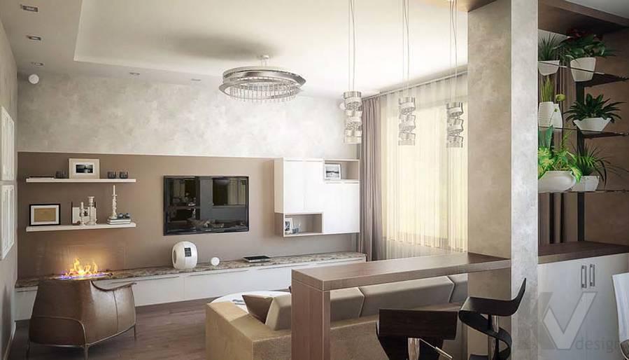 Таунхаус в п. Павлово, дизайн гостиной - 9