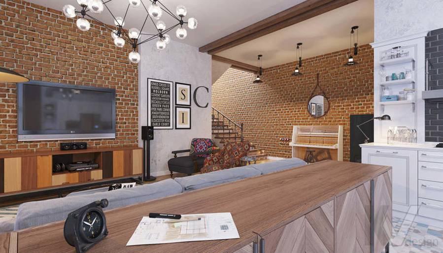 Дизайн гостиной в доме, КП Монтевиль - 3