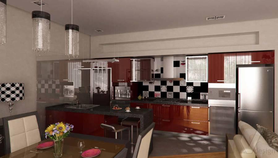 Дизайн таунхауса в п. Жаворонки, кухня-1