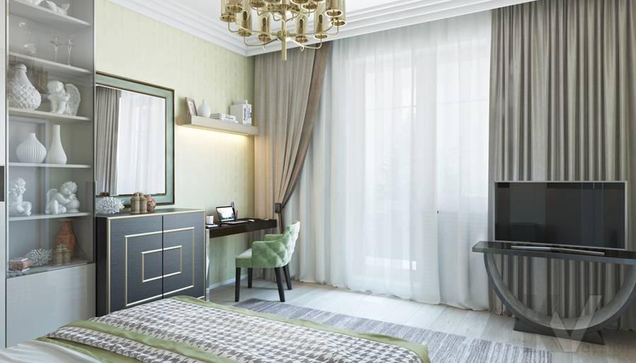 Спальня в двухкомнатной квартире, ЖК Виноградный - 2