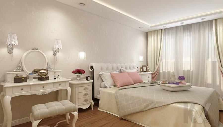 дизайн спальни в 3-комнатной квартире П-44Т - 1