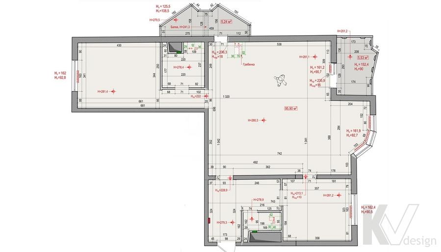 Планировка 3-комнатной квартиры И-155 в Красногорске