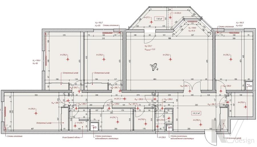 Планировка в 4-комнатной квартире, м. Киевская