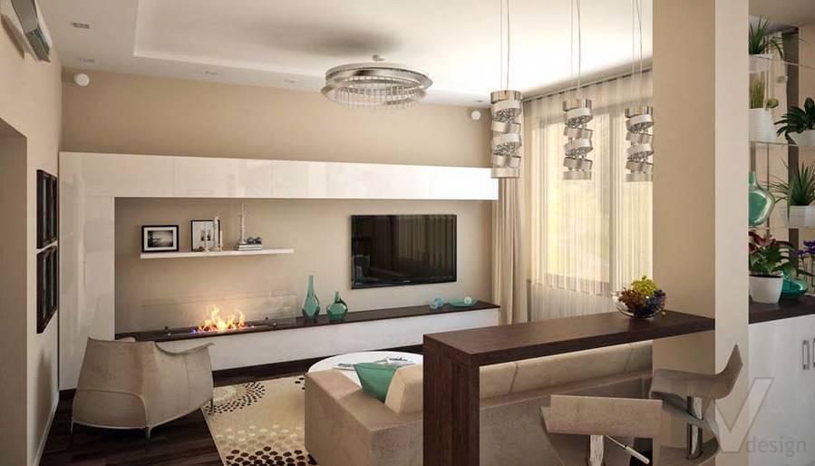 Таунхаус в п. Павлово, дизайн гостиной - 14