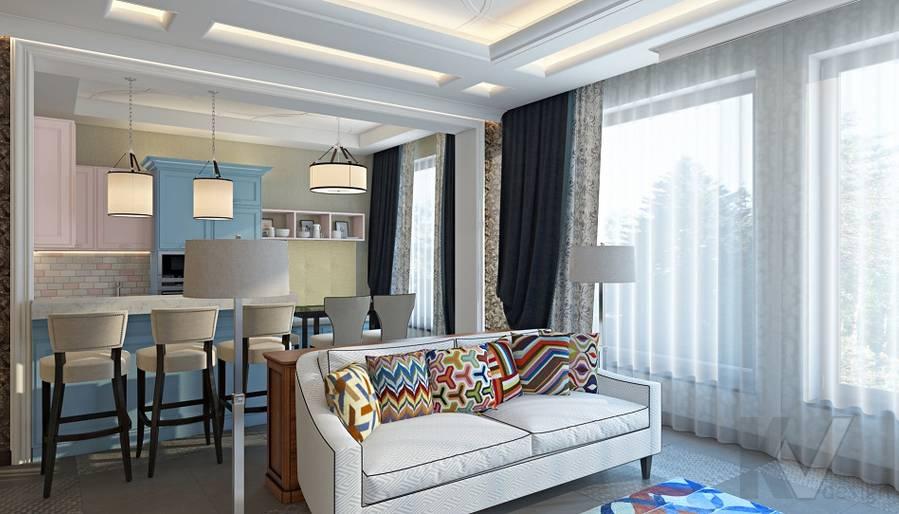 Дизайн гостиной-кухни в трехэтажном доме - 5