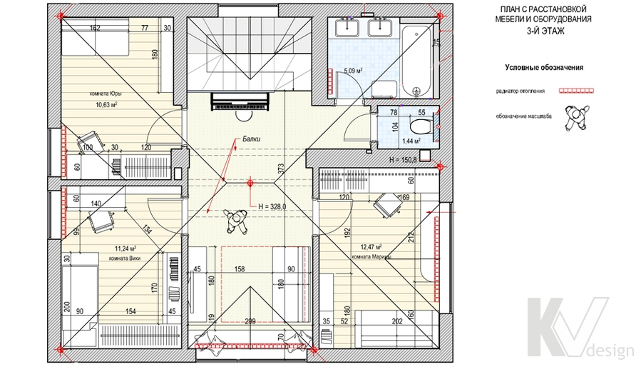Перепланировка 3-го этажа в доме, деревня Федоровка