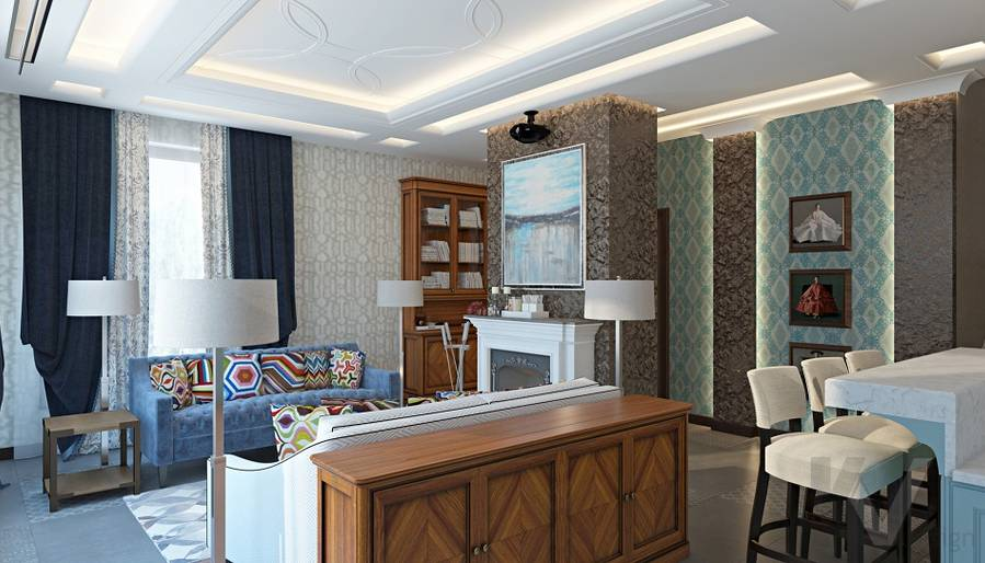 Дизайн гостиной-кухни в трехэтажном доме - 12