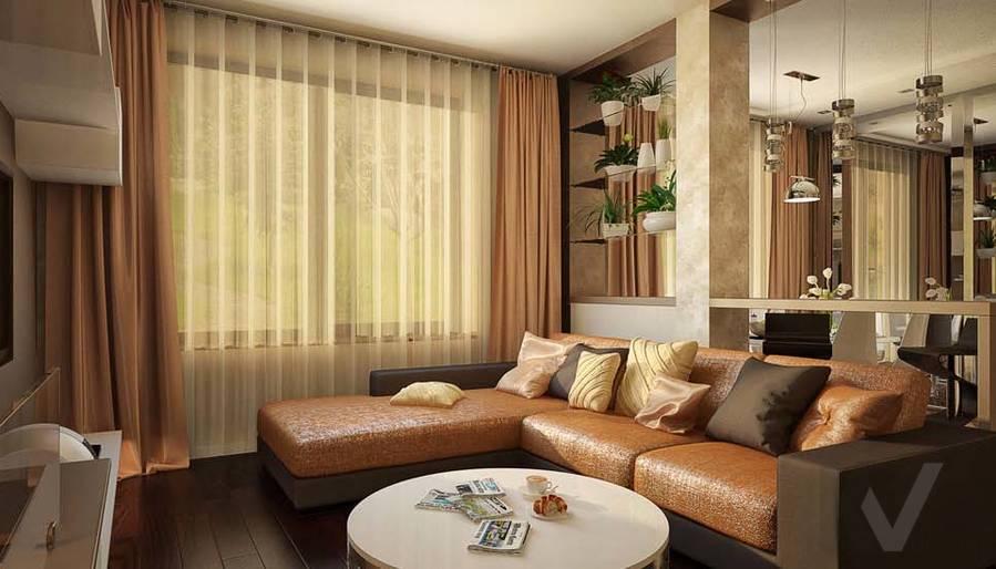 Таунхаус в п. Павлово, дизайн гостиной - 1
