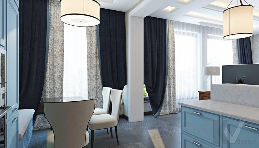 Дизайн гостиной-кухни в трехэтажном доме - 9
