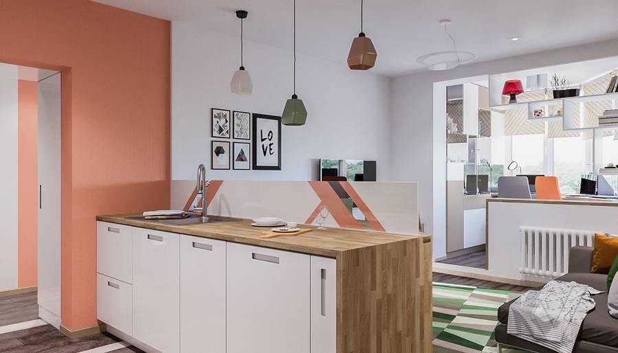 Дизайн гостиной-кухни П-44Т, Бутово Парк - 3