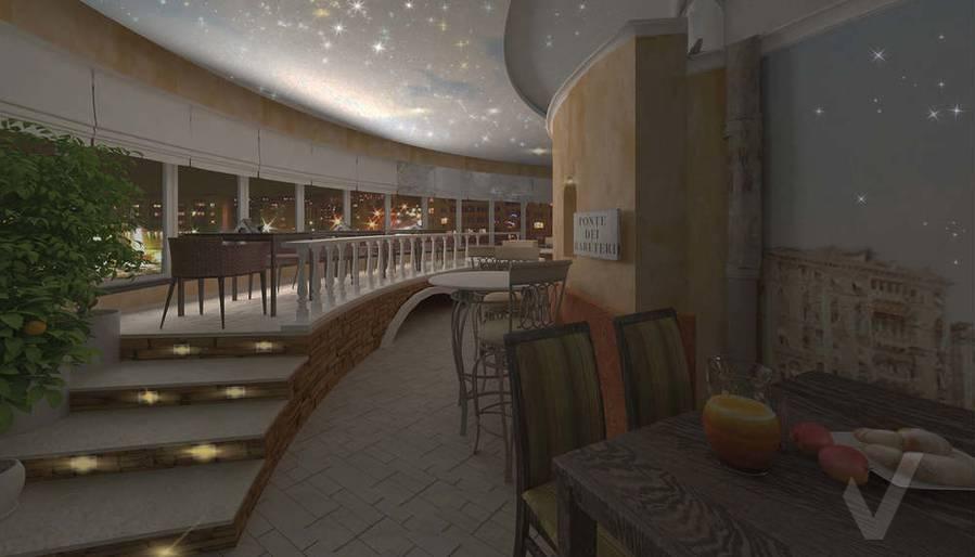 Дизайн ресторана, левый мост ночью