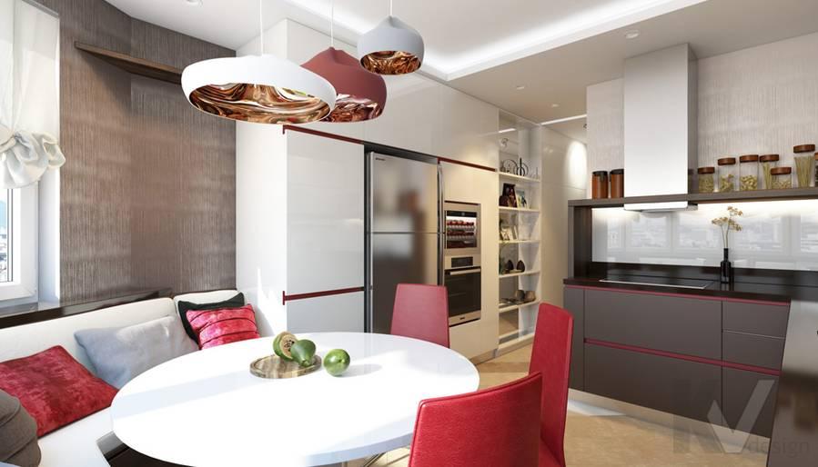 дизайн кухни в 3-комнатной квартире П-44Т, Речной вокзал - 1