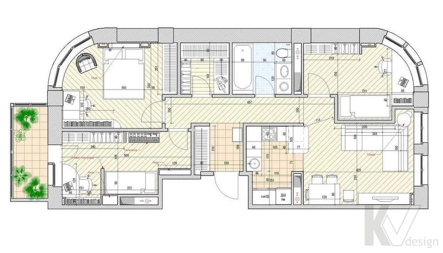 Дизайн квартиры 70 кв.м., планировка