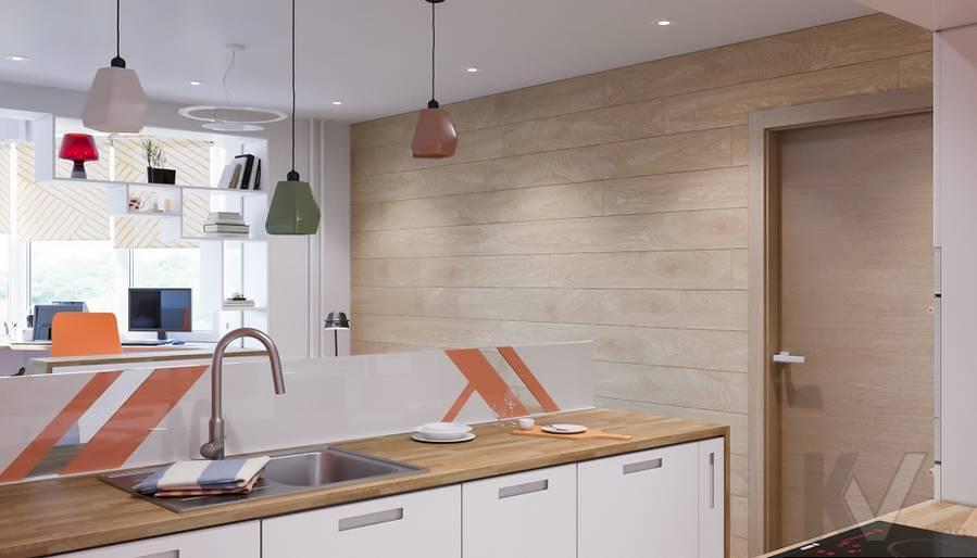 Дизайн гостиной-кухни П-44Т, Бутово Парк - 2