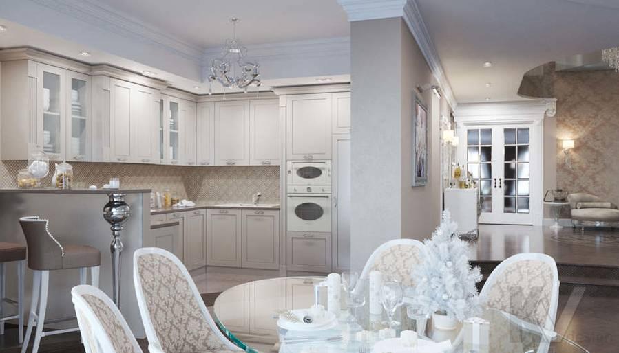 Дизайн кухни в коттедже, КП Эдельвейс - 1