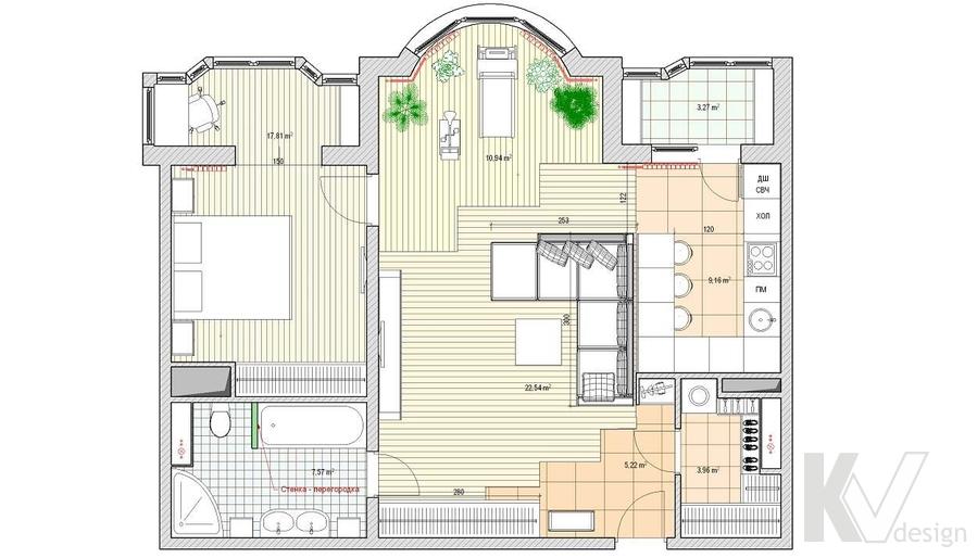 Дизайн квартиры на Профсоюзной, планировка-2