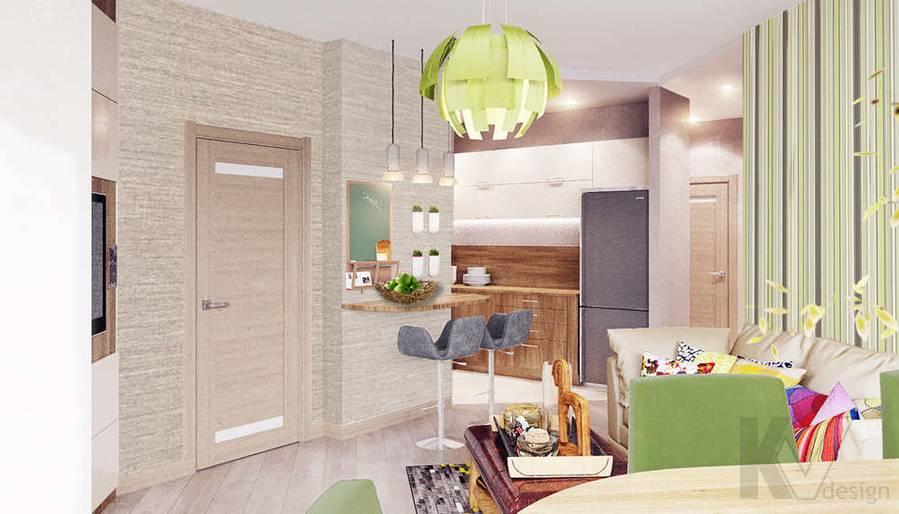 дизайн гостиной-столовой в 3-комнатной квартире, Митино - 1