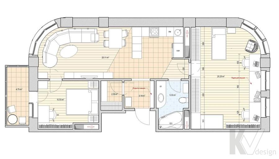 Дизайн квартиры 70 кв.м., план-3