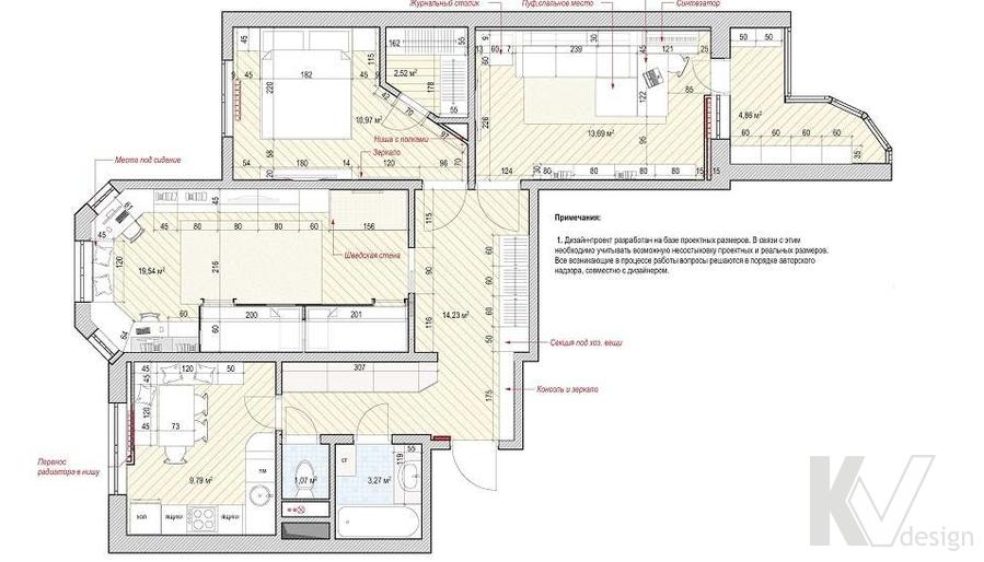 Перепланировка квартиры П-3М, Владыкино