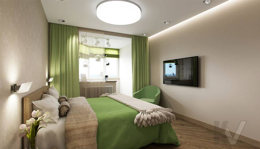 Дизайн спальни в 2-комнатной квартире, Некрасовка Парк - 3