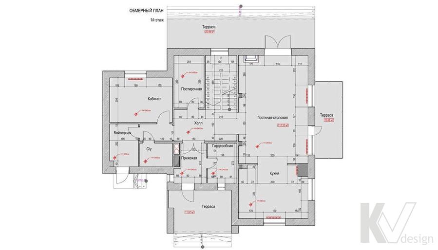 Планировка 1-го этажа в доме, КП Пестово