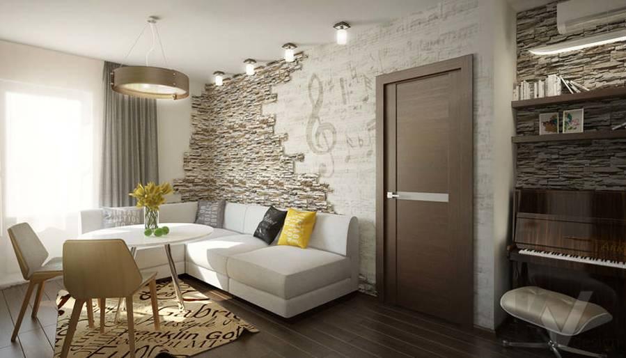 Дизайн гостиной-кухни в 2-комнатной квартире, Мытищи - 1